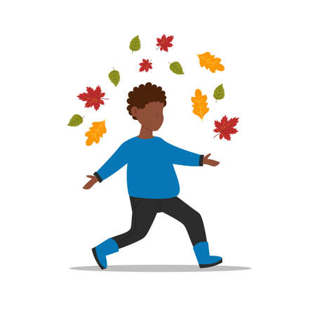 Boy collects leaves. The child runs through the autumn park. Vectores