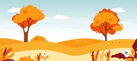 Autumn road landscape. Natural forest foliage illustration. Vectores
