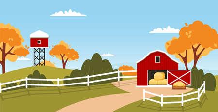 Red barn house Farm landscape. Rural house countryside farming meadow.