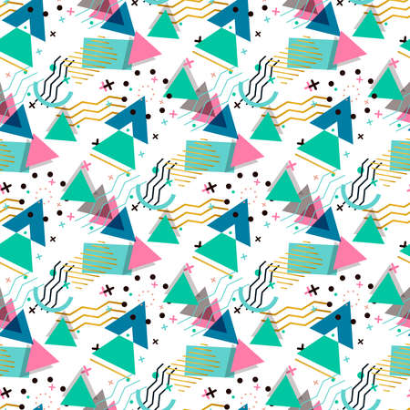 Memphis pattern of geometric shapes for tissue and postcards. Hipster juicy, bright color background.
