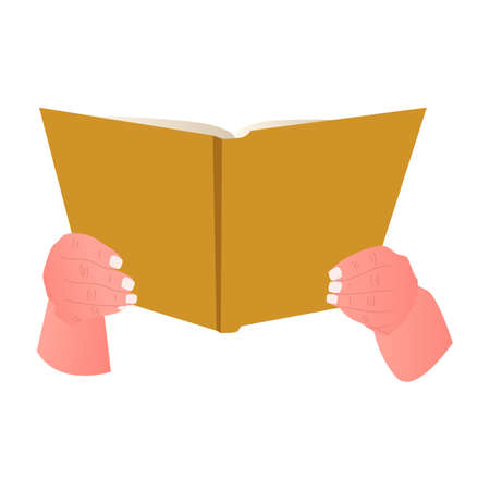Hand with book isolated on white background. Open book in people hands, education concept.