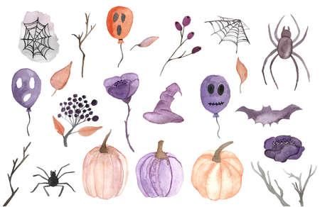 Halloween party watercolor set. Bat, witch hat, cobweb, autumn watercolor horror illustration.