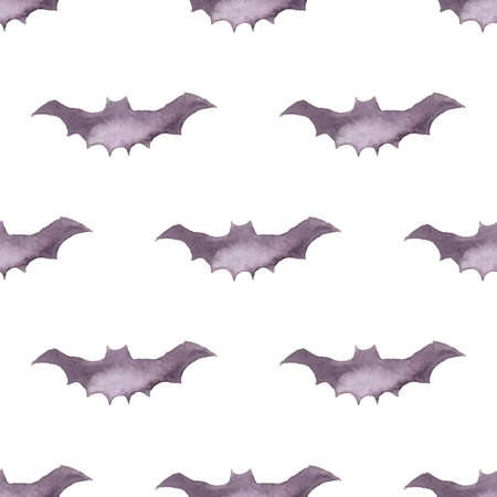 Seamless pattern with bats. Hand drawn background for Halloween party. Ink illustration. Watercolor animals ornament for wrapping paper.