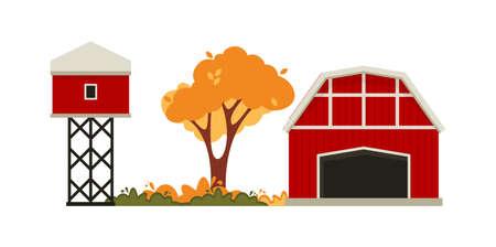 Red barn house Farm. Autumn hay harvest.