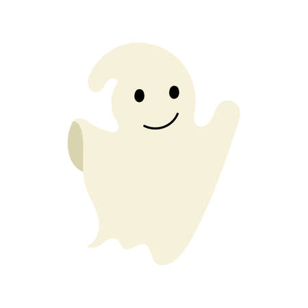 Ghost character emoticon isolated on white background.