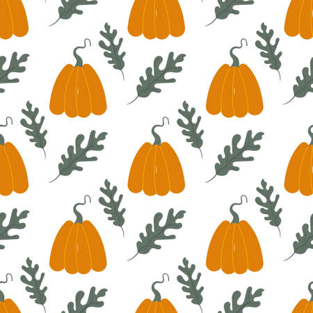 Hand drawn seamless pattern with pumpkins and leaves on the white background. Cute autumn vector texture. Vectores