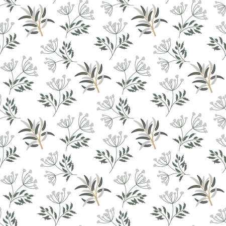 Seamless floral pattern in vintage style. Leaves and herbs. Vectores