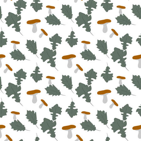 Green oak leaves with mushrooms seamless pattern.