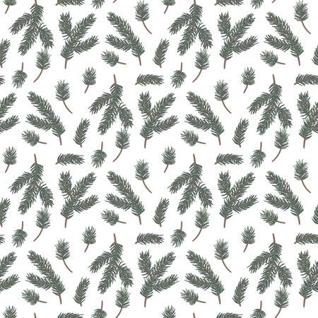 Fir tree seamless pattern. Sprig of pine