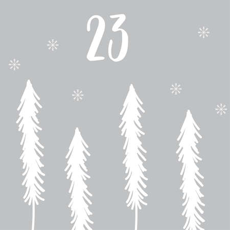 Advent calendar with cute tiger. Christmas poster