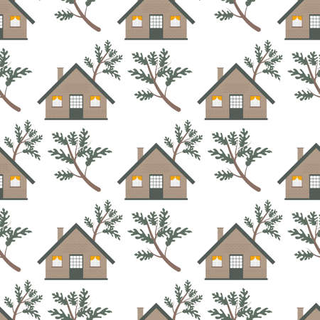 Autumn leaves and house seamless pattern. Autumn Landscape with Wooden House Leaves, Tree vector illustration.