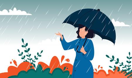 Autumn landscape city woman umbrella rain puddles of yellow trees. Enjoying autumn days. Woman in raincoat walking down the street. Girl umbralla walking under the rain.