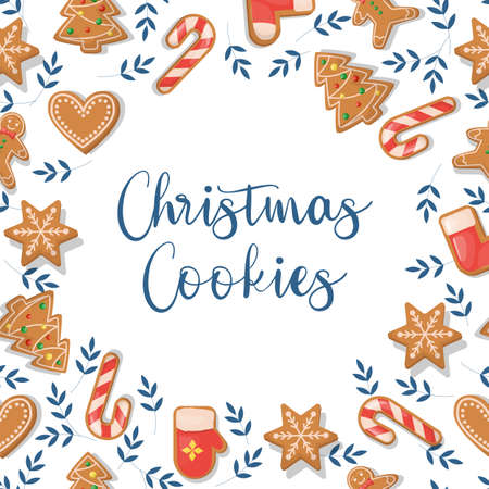 Christmas card with ginger cookies, holiday festive dessert. Winter gingerbread xmas card. Greeting card with decorated season food.