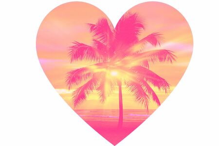 Heart and palm trees. Love of travel, islands and beaches.
