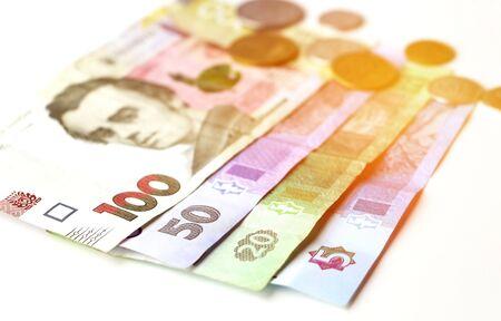 Ukrainian paper money and coins.