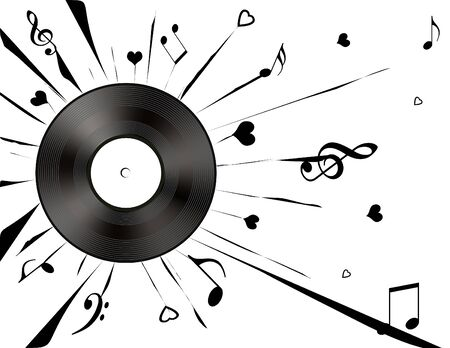 Vinyl record and black musical notes on a white background.