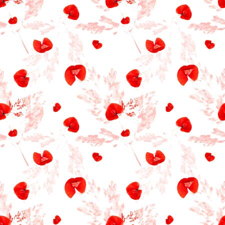 Simple seamless floral pattern with red poppy flowers. Fashionable Milflers. Elegant template for fashion prints, textile, wallpaper, pattern fills, covers, surface, gift wrap, scrapbooking,