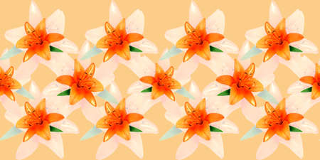 Simple seamless floral pattern with orange lily for fashion prints, textiles, wallpaper, covers, gift wrapping.