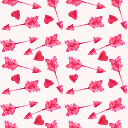 Pink arrows and hearts. Simple seamless children's pattern for fashionable prints, textiles, wallpaper, patterns, covers, surfaces, gift wrapping, scrapbooking. Standard-Bild