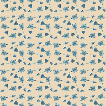 Blue arrows and hearts. Simple seamless children's pattern for fashionable prints, textiles, wallpaper, patterns, covers, surfaces, gift wrapping, scrapbooking. Standard-Bild