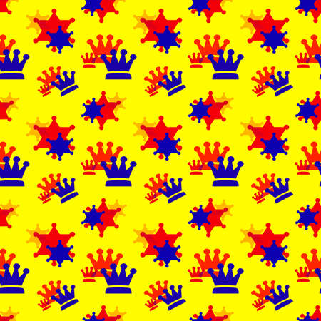 Blue and red crowns on a yellow background. Simple seamless pattern for fashion prints, textiles, wallpaper, patterns, covers, surfaces, gift wrapping, scrapbooking