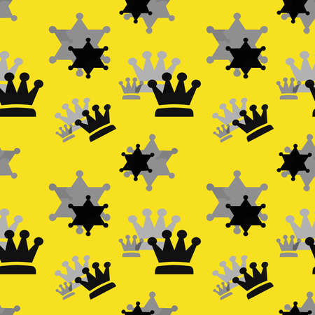 Black and gray crowns on a yellow background. Simple seamless pattern for fashion prints, textiles, wallpaper, patterns, covers, surfaces, gift wrapping, scrapbooking.