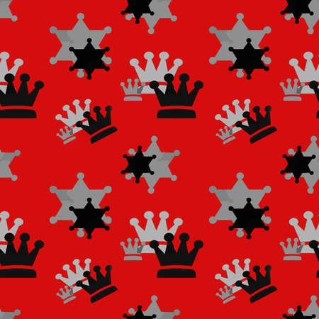 Black and gray crowns on a red background. Simple seamless pattern for fashion prints, textiles, wallpaper, patterns, covers, surfaces, gift wrapping, scrapbooking.