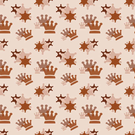 Brown crowns on a beige background. Simple seamless pattern for fashion prints, textiles, wallpaper, patterns, covers, surfaces, gift wrapping, scrapbooking. Standard-Bild