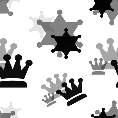Black and gray crowns on a white background. Simple seamless pattern for fashion prints, textiles, wallpaper, patterns, covers, surfaces, gift wrapping, scrapbooking. Standard-Bild