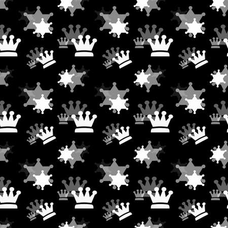 White and gray crowns on a black background. Simple seamless pattern for fashion prints, textiles, wallpaper, patterns, covers, surfaces, gift wrapping, scrapbooking.
