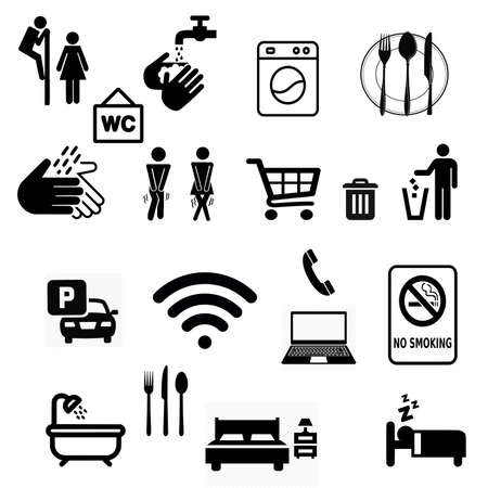Black silhouettes of various signs and symbols for the convenience of a person traveling by car.