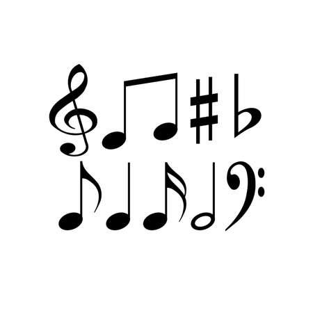 Black musical notes on a white background. Basic music symbols. Creative illustration. Set of signs.
