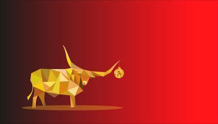 A yellow-amber bull made of triangles and a Christmas tree ball hanging from a large horn. Christmas vector card with red gradient. Çizim