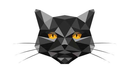 Black cat made of triangles isolated on white background. Vector creative illustration of an animal. Stock Illustratie