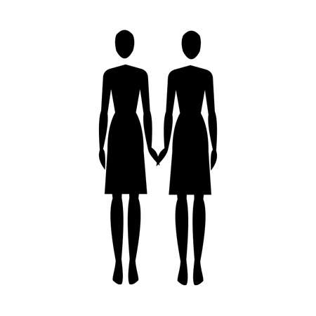 Silhouette of two women who hold hands on a white background. LGBT. Vector illustration Illusztráció