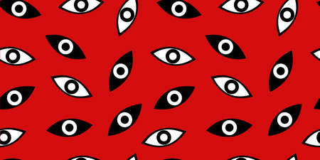 Seamless pattern with All-seeing eye for fashion prints, fabrics, wallpapers, wrapping paper, bedding. Black and white eye - Masonic symbol. Vector illustration. White background.
