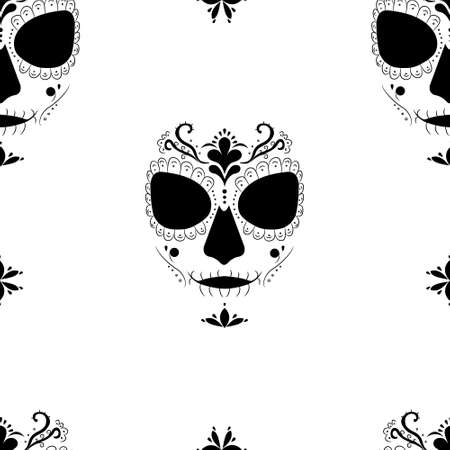 Death image of Santa Muerte. Seamless pattern for fashion prints, fabrics, wallpapers, wrapping paper, bedding. Modern pagan cult in Mexico. Vector illustration.