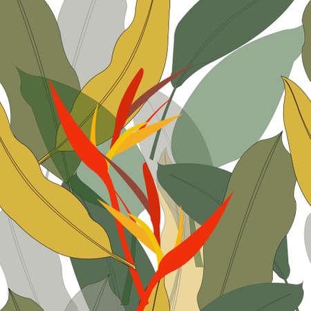 Seamless pattern with large leaves and bright Heliconia flower for trendy prints, fabrics, wrapping paper, T-shirts. Vector illustration.