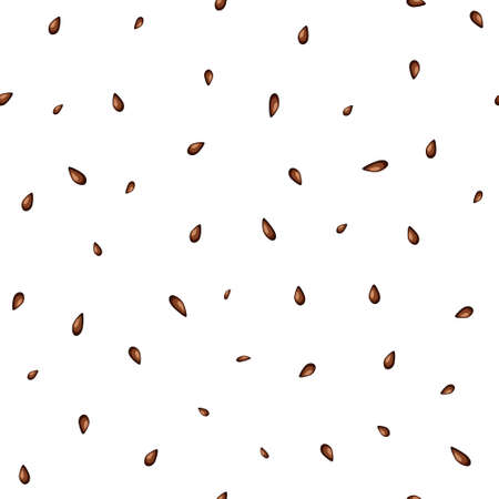 Watermelon. Seamless pattern with watermelon seeds on a white background for fashion prints, fabrics, wallpapers, wrapping paper. Vector illustration.