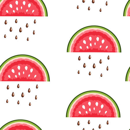 Watermelon and seeds. Seamless pattern with slices and seeds of red watermelon on a white background for fashion prints, fabrics, wallpaper, wrapping paper. Vector illustration.
