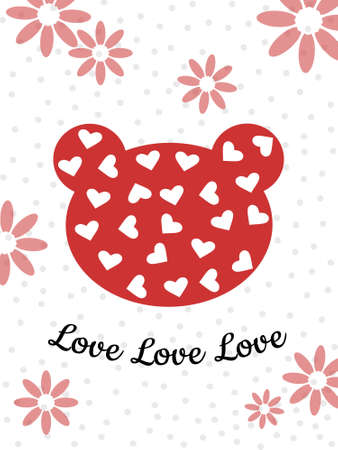 The bear's head is red with hearts on a white background. Cute holiday card for Valentine's Day, birthday. Printing illustrations on cups, textiles, clothing, gliders. Vector illustration.