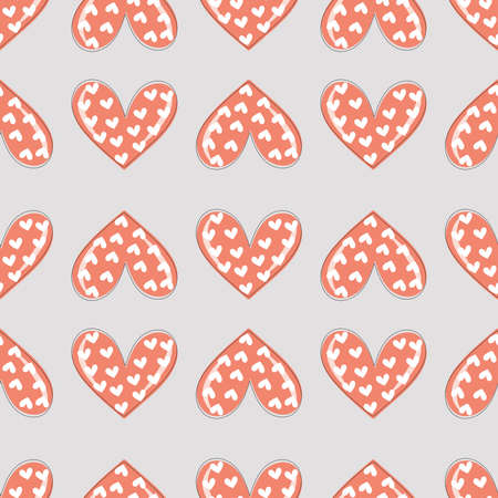 Trendy seamless pattern of hearts for festive romantic wrapping paper, fabric, textile, bed linen, covers. Valentine's day template.