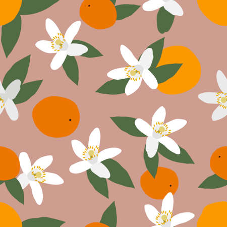 Modern seamless pattern of orange citrus flowers and fruits. Exotic design for printing on fabrics, textiles, bedding, interior decor. Vector graphics.