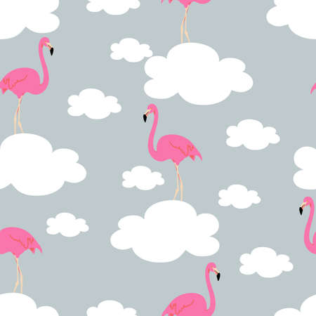 Seamless pattern with exotic pink flamingos on a blue sky background. Birds and clouds for printing on fabric, textiles, paper, bedding. Vector graphics.