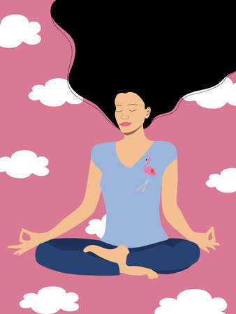 A sporty girl with long hair sits in a lotus position and meditates. Mentally dreams and feels light, as if flying in the clouds. Vector graphics.