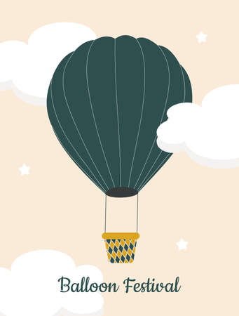 Green hot air balloon in a pink sky with white clouds. A simple postcard for those who like to fly. Balloon festival. Vector graphics. Illustration