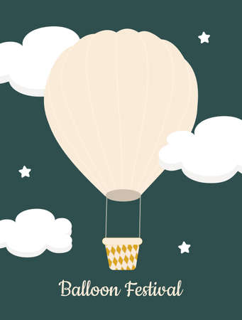 Pink hot air balloon against green sky with white clouds. A simple postcard for those who like to fly. Balloon festival. Vector graphics.