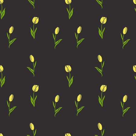 Seamless spring pattern with yellow tulips on a dark gray background. For printing on fabrics, textiles, paper, decorative interior design. Banque d'images