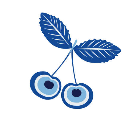 Turkish amulet against the evil eye. Cherries are creative. Berries in blue tones. Blue eye. Guardian Nazar. For printing on cups, decorative textiles. Vector graphics.