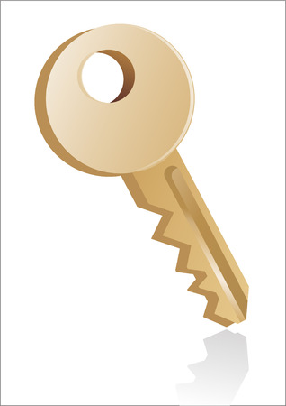 Gold key illustration  Vector